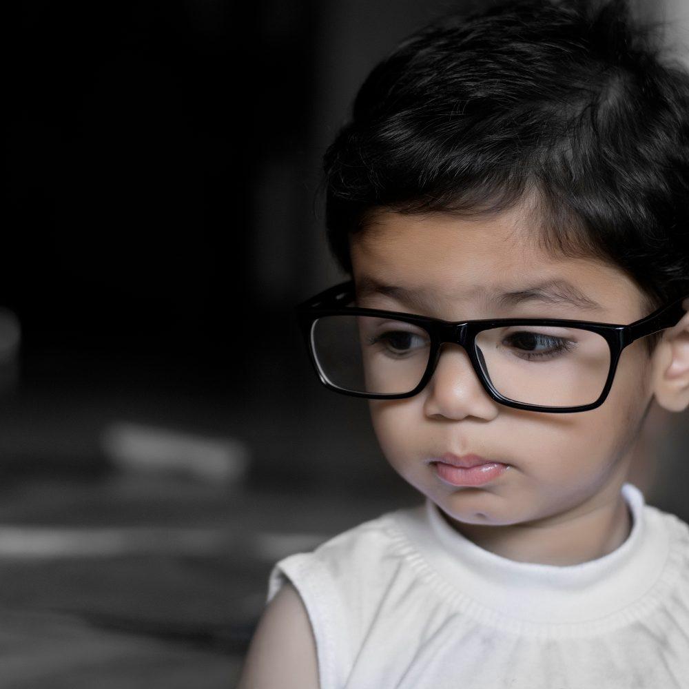 child wearing glasses