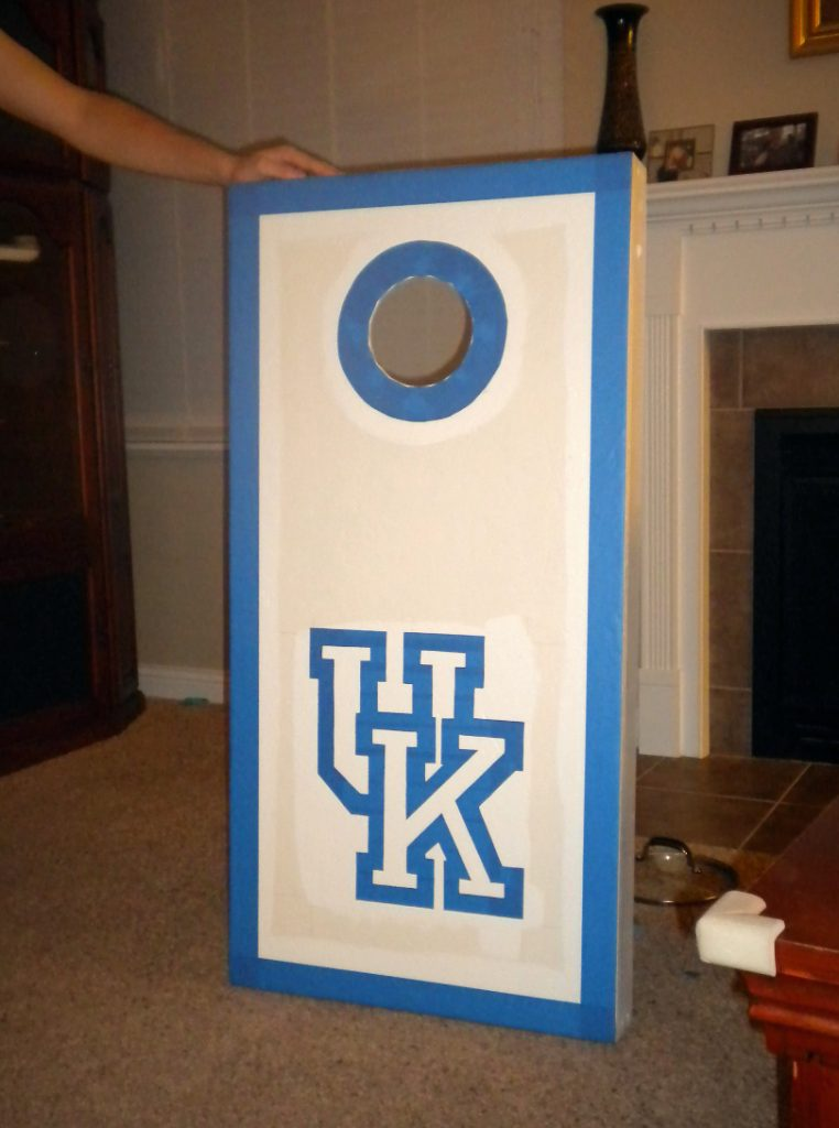 Cornhole Boards with white paint